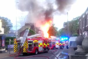The scene of the blaze at a car repair garage in Newcastle Road, West Boldon. Pic: Kris Woods.