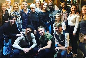 The crew from The Hugh Jackman Show with staff members from the Crown Hotel Bawtry