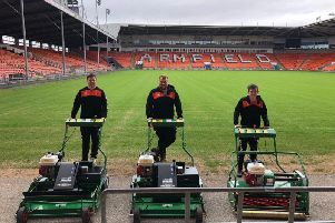 Blackpool's grounds team show off the new mowers. From left to right, Jonny Cardwell, Harry Bradley and Kane Roberts