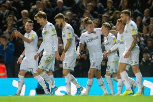 Leeds United players celebrate their goal against West Brom. Picture: Bruce Rollinson