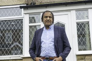 Masood Ahmed, Dewsbury South for Labour outside his home in Pentland Road, Savile Town.