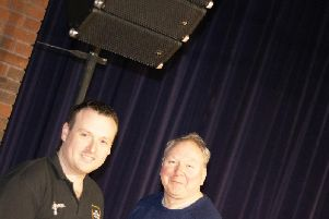 Lowther Trust chairman Tim Lince (right) and sound technician Dan Creasey with a new system speaker
