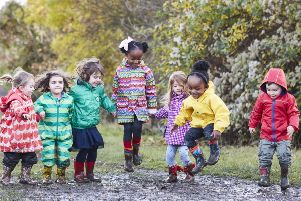 """Children take part in a Muddy Puddle Walk to raise money for Save the Children�""""s life-saving work.''Since 2014 Save the Children has been in partnership with Peppa Pig, and this year, for the first time, between 8-14th May 2017, we are launching a bespoke fundraising activity with Peppa Pig based on Peppa�""""s love of jumping in muddy puddles. ''Peppa�""""s Muddy Puddle Walk for Save the Children is an early years co-branded product, leveraging the power of the Peppa brand to bring our cause to life for young children, their families and care givers, and inspire them to raise money through a mass participation campaign for under-5s."""