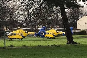The air ambulances landed in Leyland