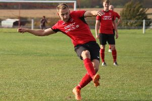 Gav King, who scored his 29th goal of the season for Ollerton Town. (PHOTO BY: DC Photography, Retford).