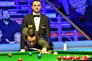 Ronnie O'Sullivan in action at Preston Guild Hall today. Pic: Event Photos 67