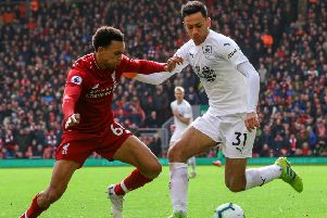 Burnley's Dwight McNeil battles with Liverpool's Trent Alexander-Arnold''Photographer Alex Dodd/CameraSport''The Premier League - Liverpool v Burnley - Sunday 10th March 2019 - Anfield - Liverpool''World Copyright � 2019 CameraSport. All rights reserved. 43 Linden Ave. Countesthorpe. Leicester. England. LE8 5PG - Tel: +44 (0) 116 277 4147 - admin@camerasport.com - www.camerasport.com