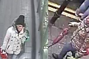 The woman believed to be Susan (pictured left in the black hat and grey/silver jacket), was seen to be speaking to another woman (pictured right carrying the umbrella) in Asda in Darwen on Tuesday, January 29.
