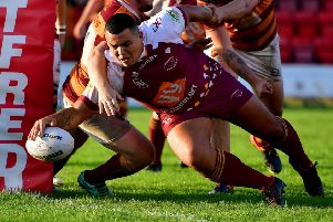 Declan Tomlinson's strong running display was rewarded with a second half try but it wasn't enough to prevent Thornhill Trojans slipping to a heavy defeat at Egremont in the National Conference Premier Division. Picture: Paul Butterfield
