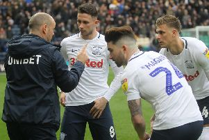 Preston manager Alex Neil with Alan Browne, Sean Maguire and Brad Potts
