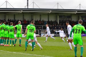Ash Hemmings tries his luck with a free-kick as Fylde's set-piece specialist Danny Rowe remained on the bench  Picture: AFC Fylde