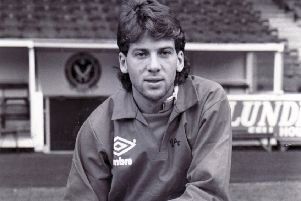 New signing: Sheffield United's Bob Booker on joining the club in November, 1988