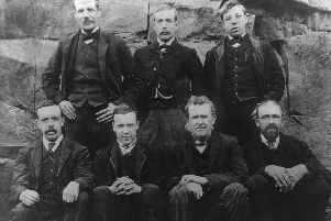 Lucky seven: The seven men who survived the pit disaster after being entombed for 30 hours: From left to right (back row) Henry Wraithmell, Friend Senior, Willie Lightowler;  Front: Squire Shires, John Garfitt, Richard Wood, J Mallinson.