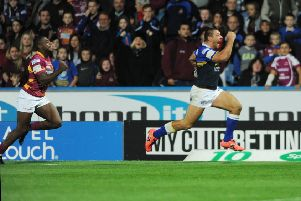 That try! Scored on the hooter by Ryan Hall against Huddersfield Giants to complete the second part of Leeds Rhinos' trophy treble in 2015. PIC: Steve Riding