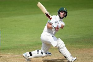 TAUNTON, ENGLAND - JULY 08: Ben Duckett of Nottinghamshire bats during Day Two of the Specsavers County Championship Division One match between Somerset and Nottinghamshire at The Cooper Associates County Ground on July 08, 2019 in Taunton, England. (Photo by Alex Davidson/Getty Images)