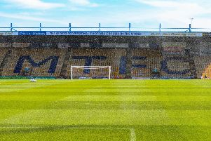Picture John Hobson/AHPIX LTD, Football, Sky Bet League Two, Mansfield Town v Stevenage, One Call Stadium, Mansfield, UK, 24/08/19, K.O 3pm''Home stand, Mansfield Town FC''Howard Roe>>>>>>>07973739229