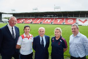 RFL CEO Ralph Rimmer, Emily Rudge of St Helens, Fred Done, Betfred, Rachel Thompson of Wigan Warriors and St Helens RLFC CEO Mike Rush. Picture: SWPix