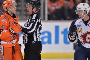 SHARE AND SHARE ALIKE: Tanner Eberle confronts Guildford's Jesse Craige. Picture: Dean Woolley.