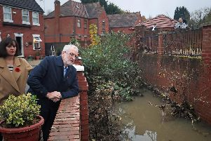 Labour leader Jeremy Corbyn with Labour MP Caroline Flint during a visit to Conisborough, South Yorkshire, where he met residents affected by flooding. PA Photo. Picture date: Saturday November 9, 2019. Photo credit should read: Danny Lawson/PA Wire