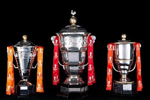The RLWC2021 trophies - Paul Barriere Rugby League World Cup The Women's Rugby League World Cup and The Wheelchair Rugby League World Cup. Picture: SWPix