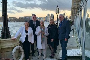 Pictured,from left to right, Coun Jayne Aston, Coun Sean Donnelly, Dame Judi Dench, Coun Shelley Powell and Coun Graham Morgan, Leader of Knowsley Council at the Shakespeare North Playhouse event in London