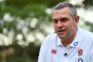 Jason Ryles with the England squad in Vilamoura, Portugal in 2017 while working as a consultant. (Photo by Dan Mullan/Getty Images)