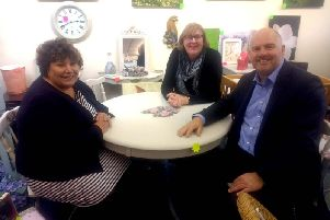 Marie Rimmer OBE, Angela Metcalfe (The Hope Centre) and Carl Beer (MRWA) at the opening of ReStore  a new shop in St Helens that sells used goods. A MRWA Community Fund project