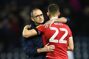 WEST BROMWICH, ENGLAND - FEBRUARY 12: Martin O'Neill, Manager of Nottingham Forest and Ryan Yates share a hug during the Sky Bet Championship match between West Bromwich Albion and Nottingham Forest at The Hawthorns on February 12, 2019 in West Bromwich, England. (Photo by Stu Forster/Getty Images)