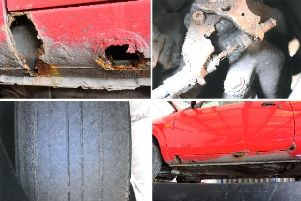 The damage to the cars advertised for sale