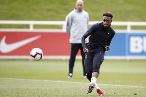 England's Callum Hudson-Odoi pictured during Tuesday's training session at St George's Park, Burton (Picture: Martin Rickett/PA Wire).