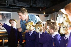 Pupils from Seaton Sluice First School get creative with Miles Slater as part of World Book Day on DFDS' King Seaways ferry.