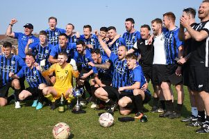 Selston's players celebrate their title win. Photo by Darren Clay.