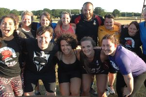 NAWN 1807022AM1 Charlie Beech. Charlie Beech with The Wetherby Womens Rugby Team.  (1807022AM1)