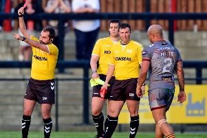 Wayne Reittie was sent off in the Good Friday derby clash but Batley fought back from 8-0 down to score 20 unanswered points as they defeated Dewsbury Rams 20-8 to take the bragging rights. Picture: Paul Butterfield