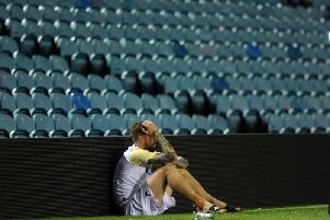 Pontus Jansson cut a lonely figure at Elland Road following full-time.