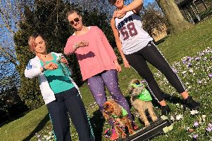 White Cross Vets Fitbit challenge Jade Till, Vicky Roberts, Jemma Taylor and dogs Tippi Roberts and Pip Wood.