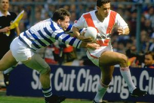 Mark Elia of St Helens flies up the wing during the Challenge Cup final against Halifax at Wembley Stadium in 1987