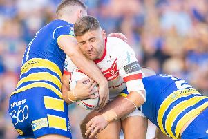 Tommy Makinson takes on the Wolves defence in their clash at the HJ a few weeks ago. Picture: SWPix