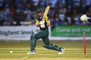 DERBY, ENGLAND - JULY 13: Daniel Christian of Nottingham batting during the Vitality Blast match between Derbyshire Falcons and Notts Outlaws at The 3aaa County Ground on July 13, 2018 in Derby, England. (Photo by Nathan Stirk/Getty Images)