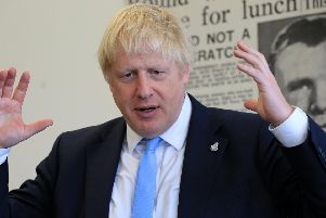 Prime Minister Boris Johnson at The Yorkshire Post's offices in Leeds. Pic:Chris Etchells