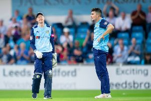 Yorkshire's Jonathan Tattersall and Jordan Thompson's dejection shows as Worcester run down their target against Yorkshire. (Picture: SWpix.com)
