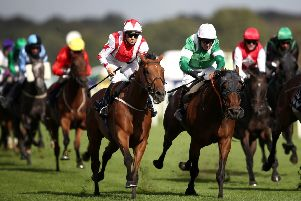 Dubai Acclaim ridden by Sammy Jo Bell (left) wins the Mondialiste Leger Legends Classified Stakes during day one of the William Hill St Leger Festival at Doncaster Racecourse.