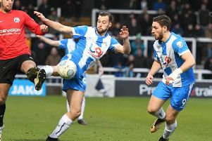 Hartlepool United's Lewis Hawkins in action against Gateshead.