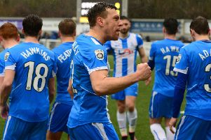 Pools' Carl Magnay celebrates going 2-0 up in yesterday's win at Maidstone. Picture by Howard Roe/AHPIX.com
