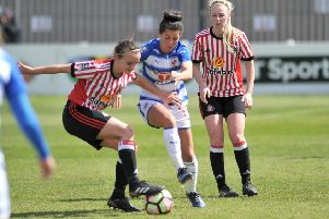 Sunderland Ladies' Hayley Sharp, right, casts a close eye over proceedings in a recent match against Reading, at Mariners Park, South Shields.