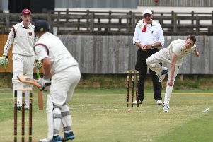 Littletown's Jack Weeks bowls to Dawdon's Jamie Greenwood on the way to a five-wicket haul on Saturday. Picture by Kevin Brady