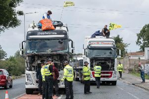The frackers protest on top of the lorries