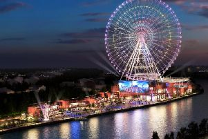 An artist's impression issued of a huge observation wheel, dubbed the Whey Aye, which developers want to build on the banks of the Tyne. Pic: World Wheel Company/PA Wire.