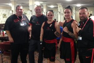 Left to right: Lambton Street Amateur Boxing Club's Gary Bunting, Mark Price, Estelle Scott, Jordan Barker and Richie Dunn.