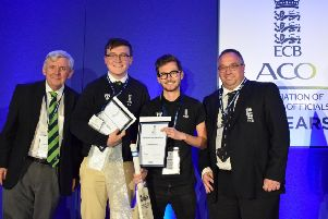 From left Les Clemenson (ECBACO Acting Chairman), Connor McGarry (ECBACO Young Umpire of the Year), Sam Blacklock (ECBACO Young Scorer of the Year) and Neil Bainton (ECB First Class Umpire.